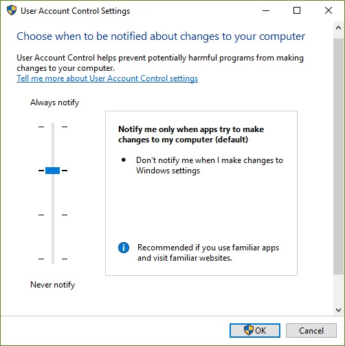 User account control setting
