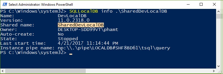 get shared localdb instance information