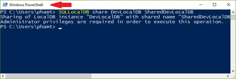 share localdb instance failed