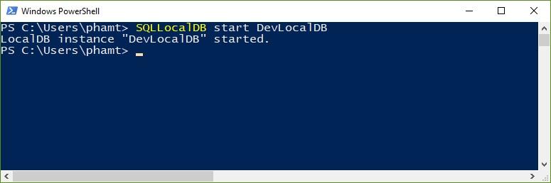 Start LocalDB instance