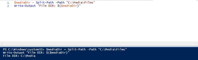 Get parent of folder in powershell