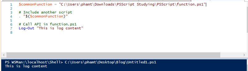 How to include another powershell script